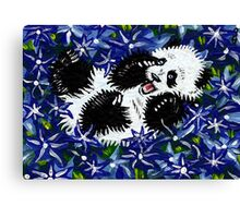 Playful Cub in Blue Canvas Print