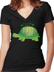 Crazy Turtle Lady with green sea turtle Women's Fitted V-Neck T-Shirt
