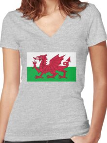 Wales Women's Fitted V-Neck T-Shirt