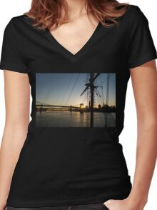 Tall Ship and Brooklyn Bridge - Iconic New York City Sunrise Women's Fitted V-Neck T-Shirt