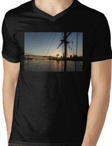 Tall Ship and Brooklyn Bridge - Iconic New York City Sunrise Mens V-Neck T-Shirt