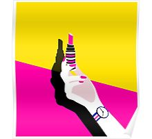 Women's hand holding a bright lipstick Poster