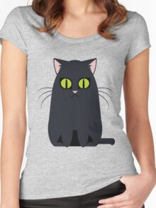 Black Graphic Kitty Women's Fitted Scoop T-Shirt