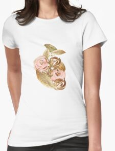 Gold Heart Womens Fitted T-Shirt