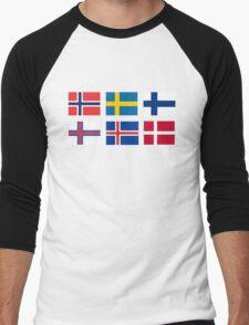 Scandinavian flags Men's Baseball ¾ T-Shirt