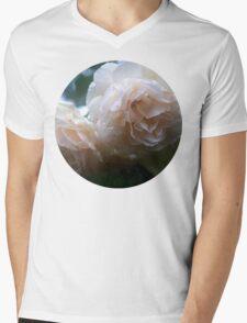 Icy White Rose Mens V-Neck T-Shirt