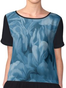 Midnight Blue Petal Ruffle Abstract Chiffon Top