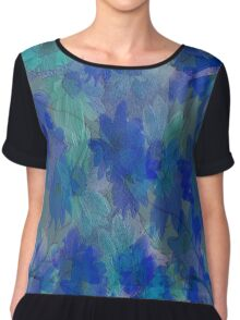 Painterly Midnight Floral Abstract Chiffon Top