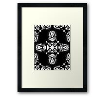 Miniature Aussie Tangle 11 Pattern White on Black Framed Print
