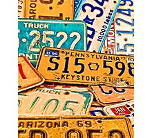 Old License Plates Photographic Print