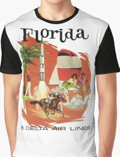Florida Delta Air Lines Vintage Travel Poster Graphic T-Shirt