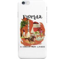 Florida Delta Air Lines Vintage Travel Poster iPhone Case/Skin