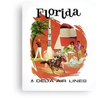 Florida Delta Air Lines Vintage Travel Poster Canvas Print