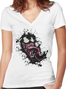Venom •Splatter Women's Fitted V-Neck T-Shirt