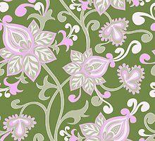 Pink Green Pastel Vintage Floral Pattern by Vicky Brago-Mitchell