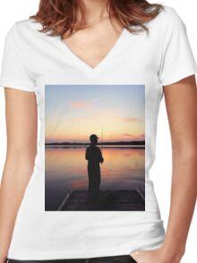 Lake Sunset Women's Fitted V-Neck T-Shirt