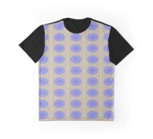 Blue Circle Beige Stripes Graphic T-Shirt