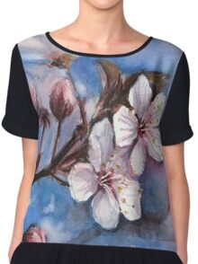 Cherry Blossoms Watercolor Chiffon Top