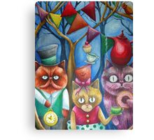 cats wonderland tea party Canvas Print