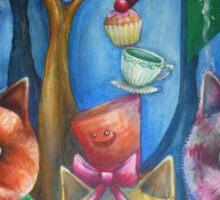 cats wonderland tea party Sticker