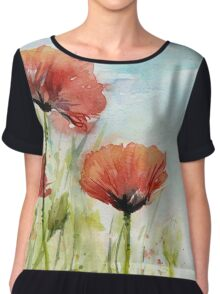 Red Poppy Watercolor Chiffon Top