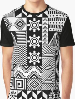Black and white ethnic print Graphic T-Shirt