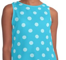 Teal Blue Polka Dots Contrast Tank