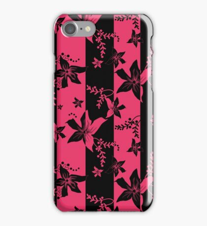 Seamless flowers retro pattern with stripes background iPhone Case/Skin