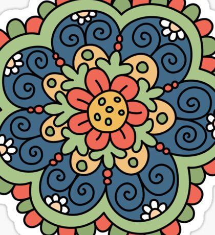 Flower mandala - blue, red, green and yellow Sticker