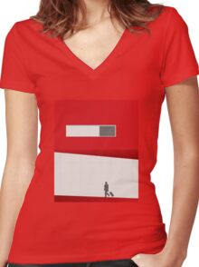 Funky Little Red Building Women's Fitted V-Neck T-Shirt