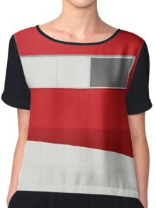 Funky Little Red Building Chiffon Top