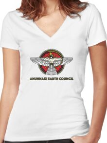 Anunnaki Earth Council Women's Fitted V-Neck T-Shirt