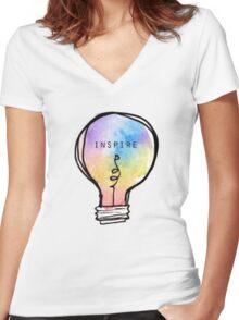 Inspire lightbulb Women's Fitted V-Neck T-Shirt