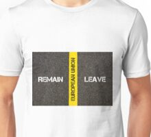 Antonym concept of remain versus Leave of UK in European Union Unisex T-Shirt