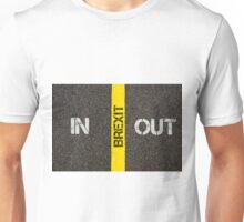 Antonym concept of IN versus Out of UK in European Union Unisex T-Shirt