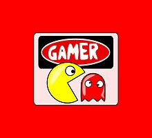 GAMER: RETRO PACMAN AND GHOST CARTOON, FUNNY DANGER STYLE FAKE SAFETY SIGN by DangerSigns