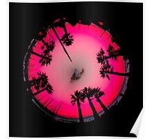 Planet Palm Trees - Pink Flamingo Poster