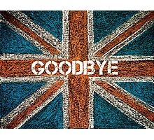 BREXIT concept over British Union Jack flag, GOODBYE message Photographic Print