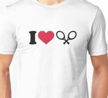 I love tennis rackets Unisex T-Shirt