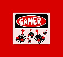 GAMER: RETRO ATARI STYLE CONTROLLERS, FUNNY DANGER STYLE FAKE SAFETY SIGN by DangerSigns