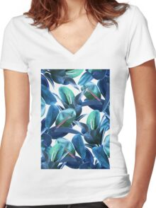 Rubber Plant #redbubble #lifestyle Women's Fitted V-Neck T-Shirt