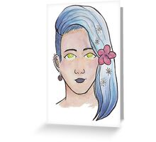 Person with flowers in their hair Greeting Card