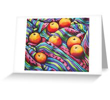Fruit on Striped Cloth Greeting Card