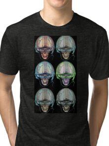Undead Biker helmet Skull Zombies multi Tri-blend T-Shirt