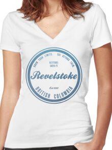 Revelstoke Ski Resort British Columbia Women's Fitted V-Neck T-Shirt
