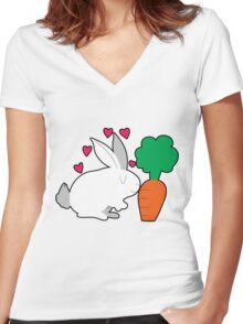 Cute Bunny and a Carrot Women's Fitted V-Neck T-Shirt
