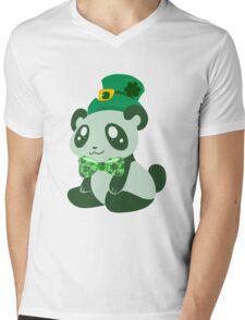 St. Patrick's Day Panda Mens V-Neck T-Shirt