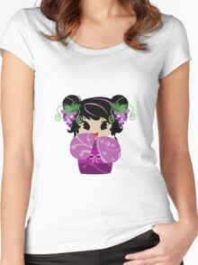 Purple Grapes Kokeshi Doll Women's Fitted Scoop T-Shirt