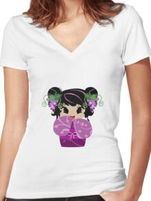 Purple Grapes Kokeshi Doll Women's Fitted V-Neck T-Shirt