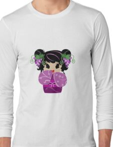 Purple Grapes Kokeshi Doll Long Sleeve T-Shirt